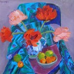 Poppies on Blue Chair