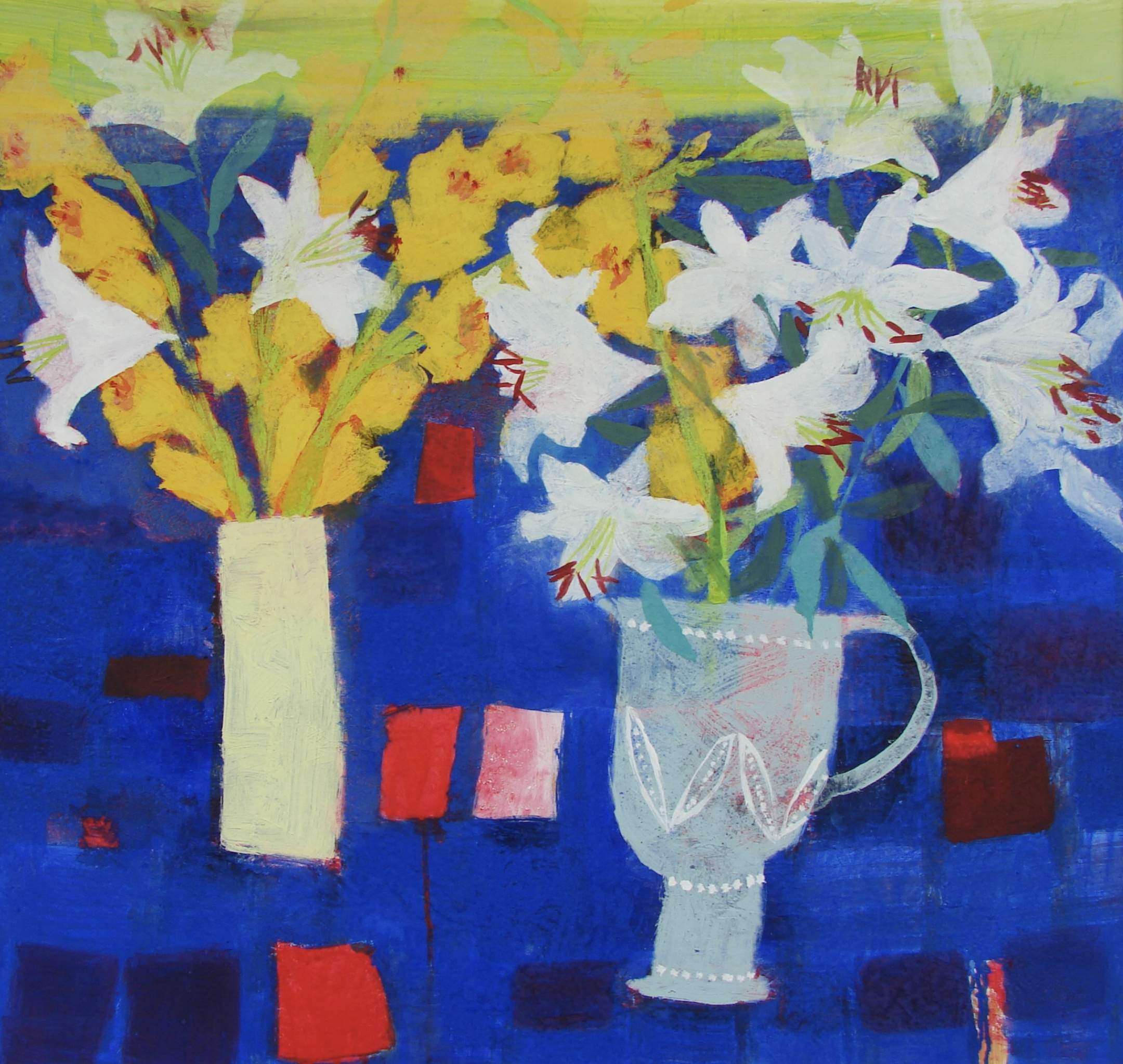 Lilies and Gladiolii mixed media 30 x 30 inches  £3,950