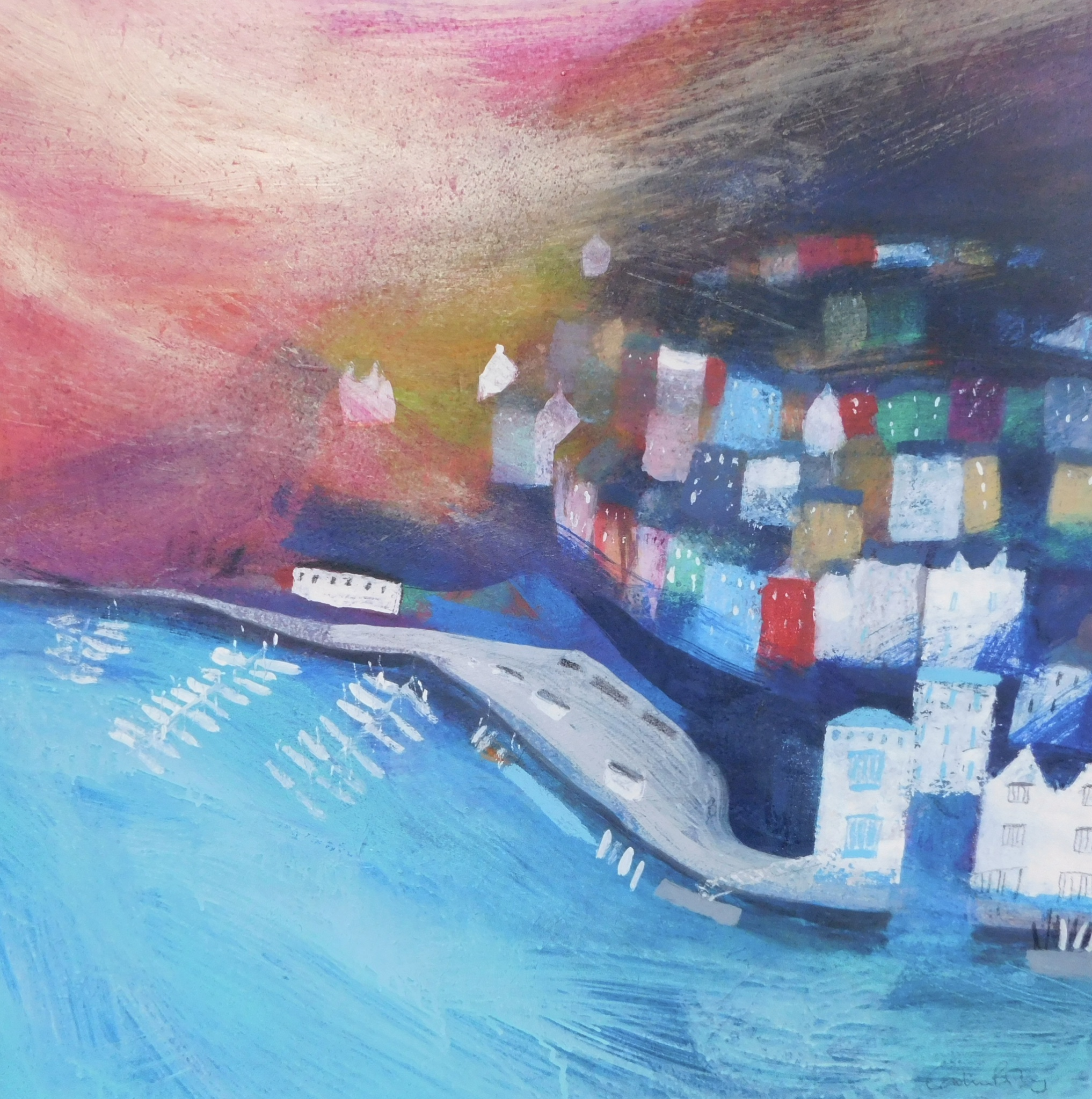 River Dart Boats mixed media on board  76 x 76cm £3,950