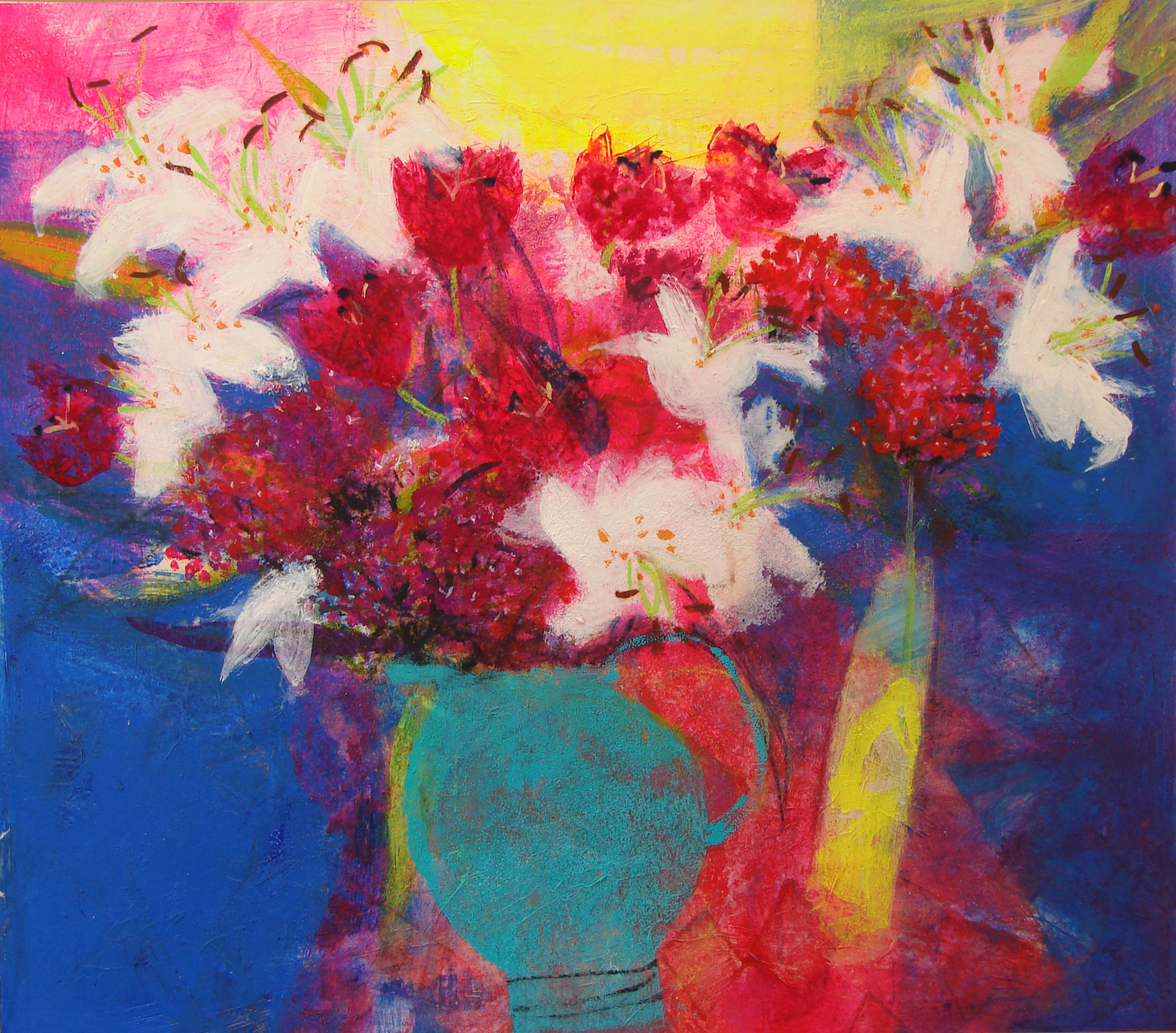 Tulips and Lilies mixed media on board 72 x 82 cm £3,950