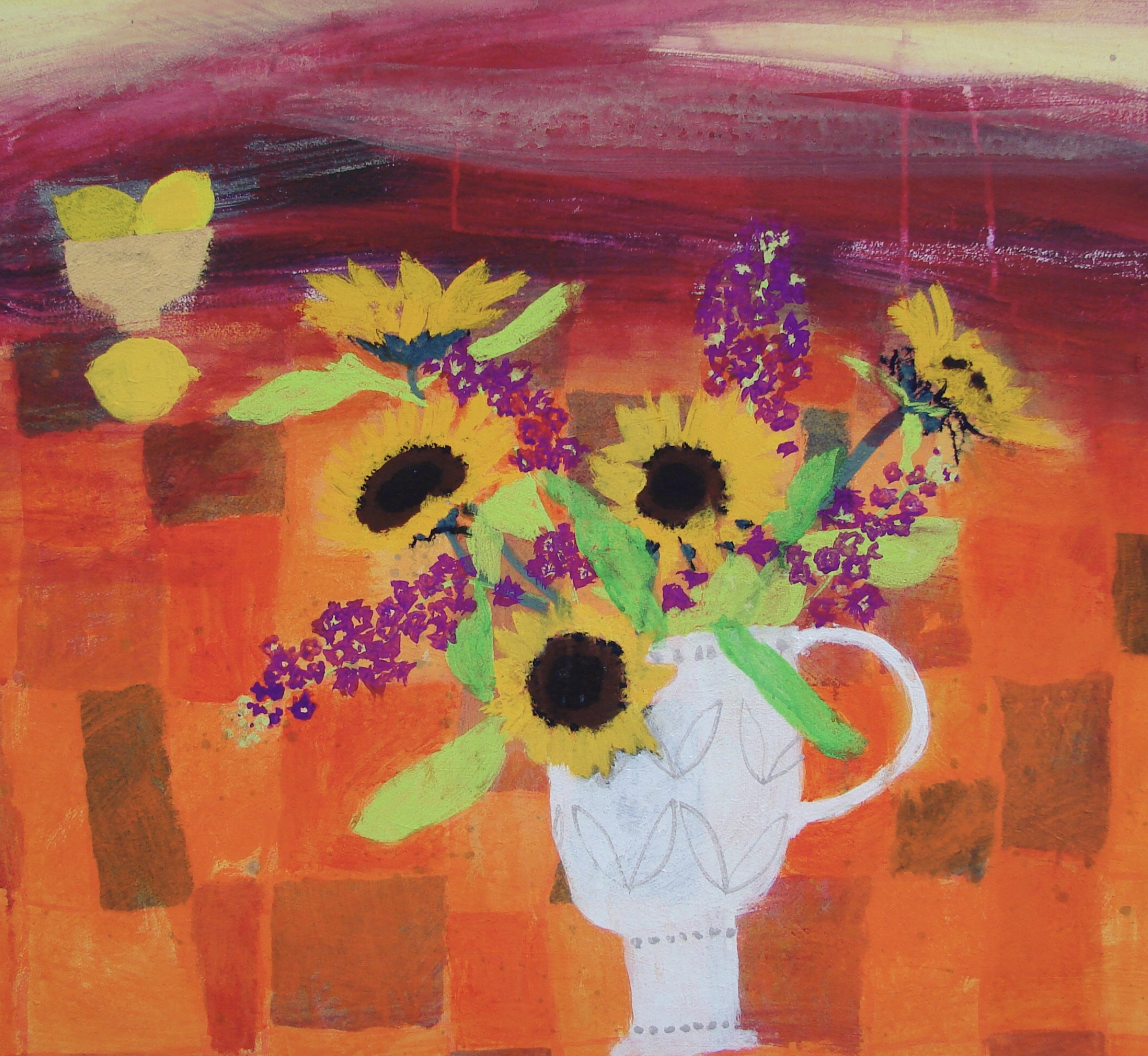 Sunflowers and Stocks mixed media 28 x 30 inches  £3,450