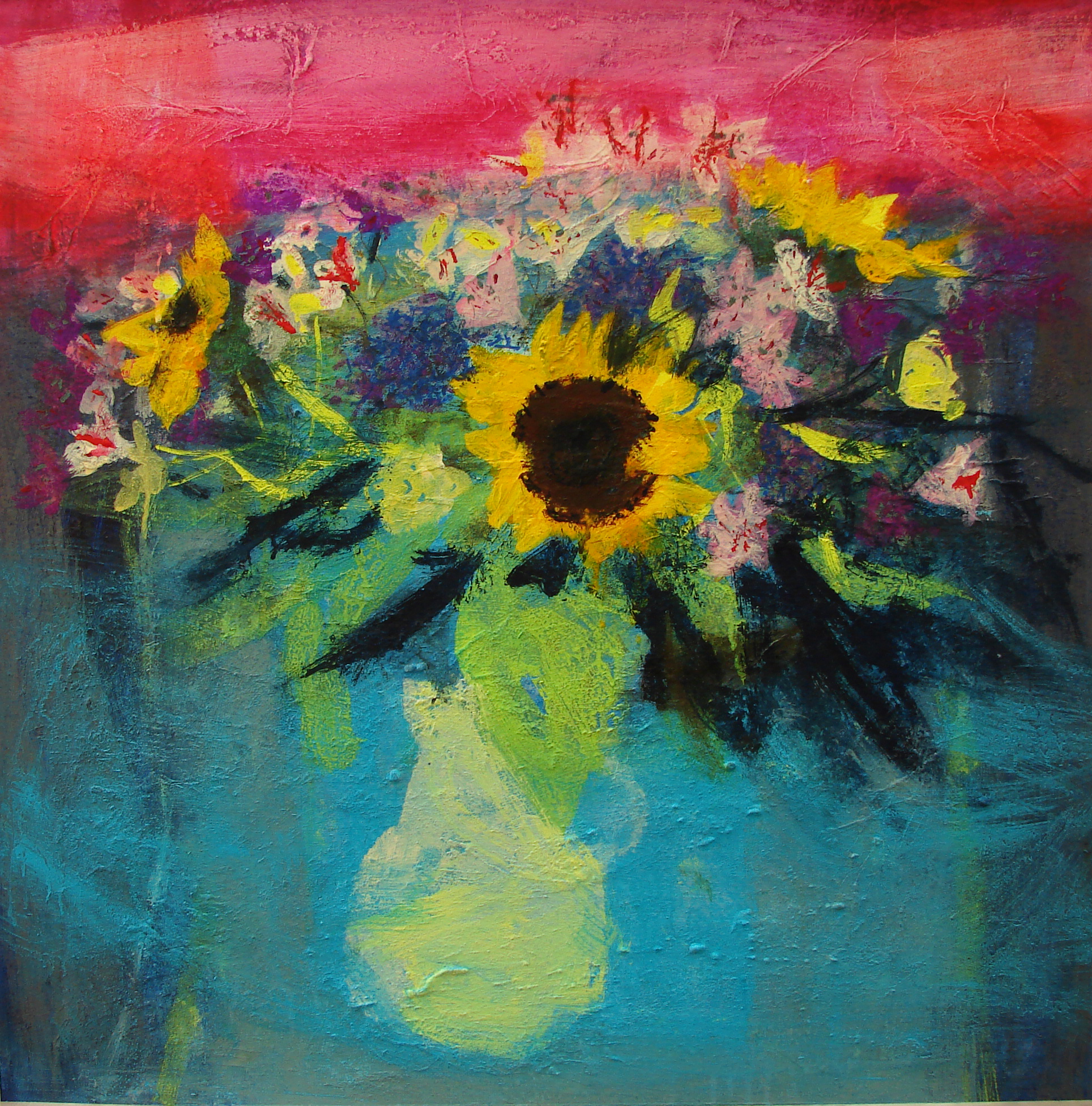 Sunflowers on Sea Blue Cloth mixed media on board 76 x 76 cm £3,950