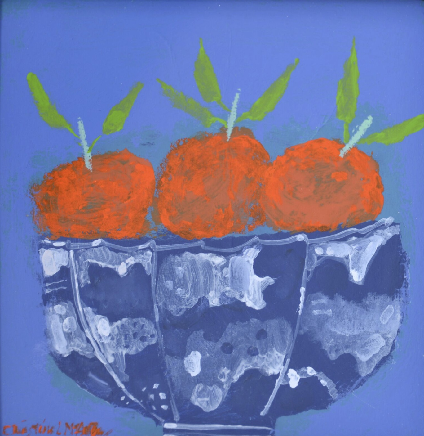 Chinese Bowl and Satsumas mixed media on board 6 x 6 inches £1,250