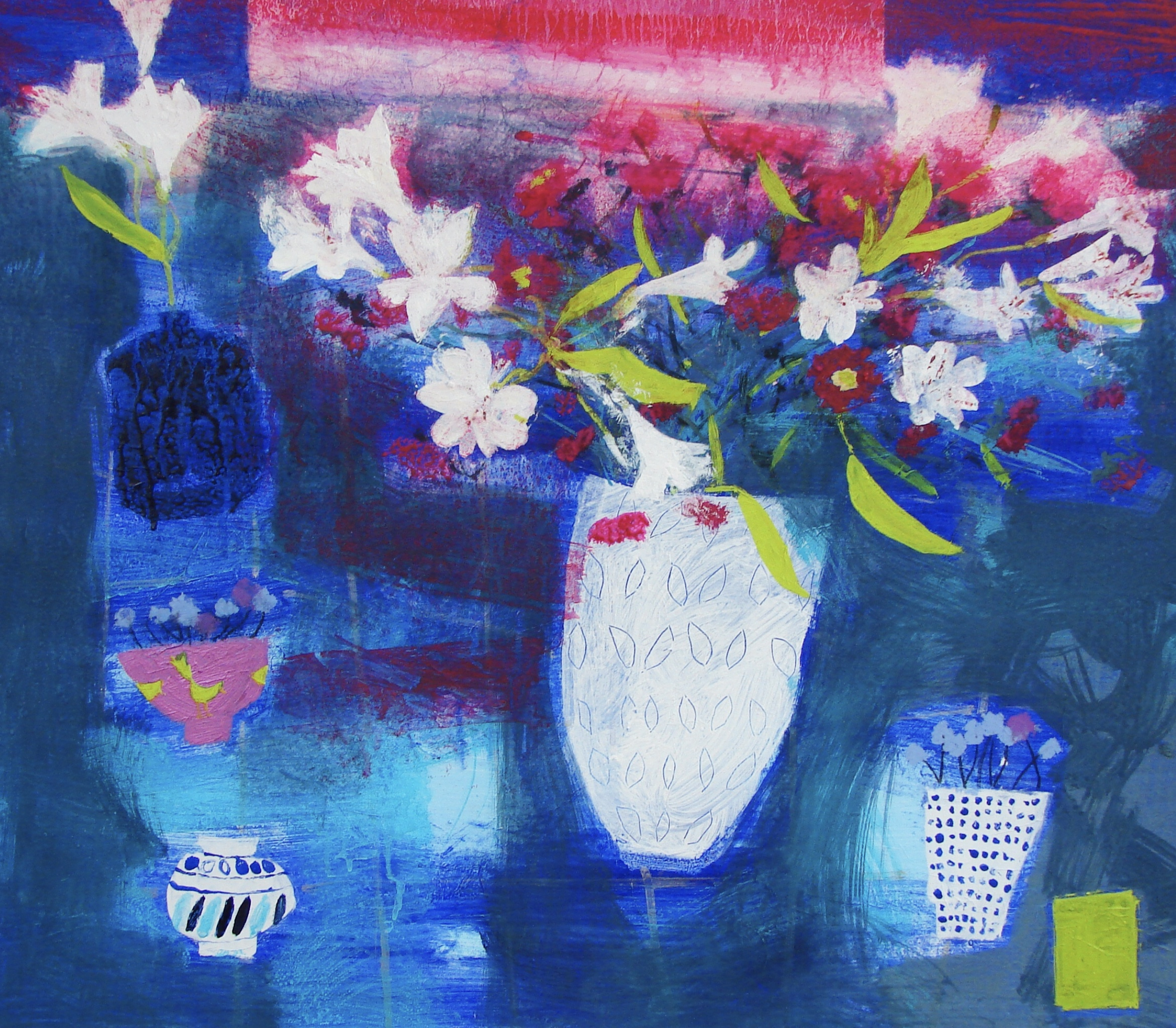 Flowers at Sunset mixed media on board 28 x 30 inches £3,450