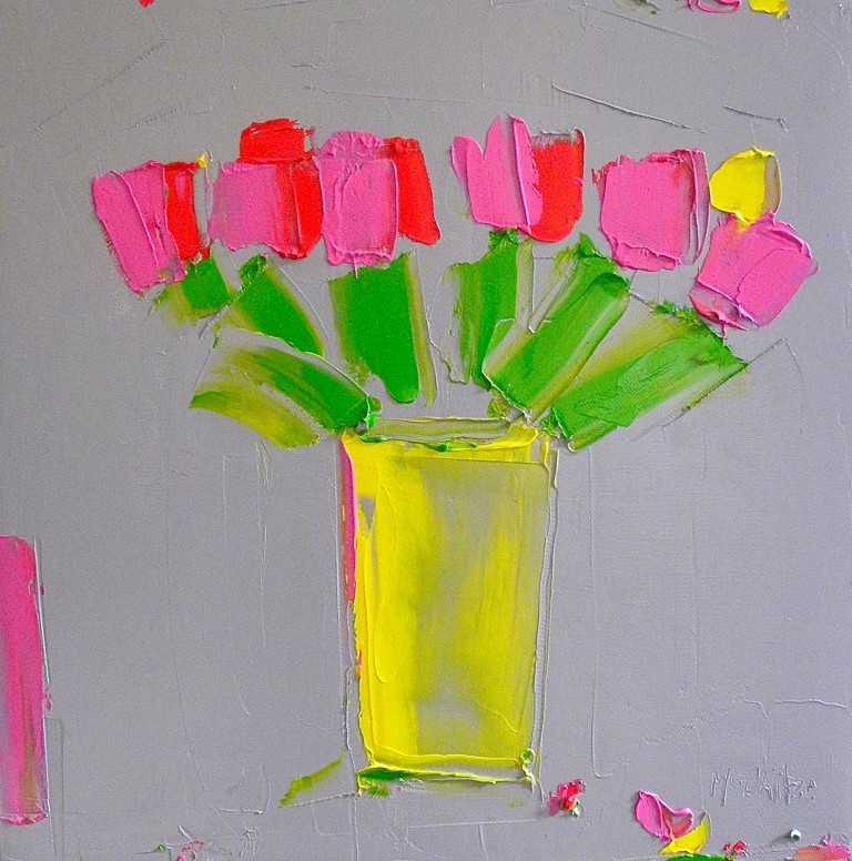 Fuschia and Red Tulips in a Yellow Vase oil on canvas  41x41cm £1,750