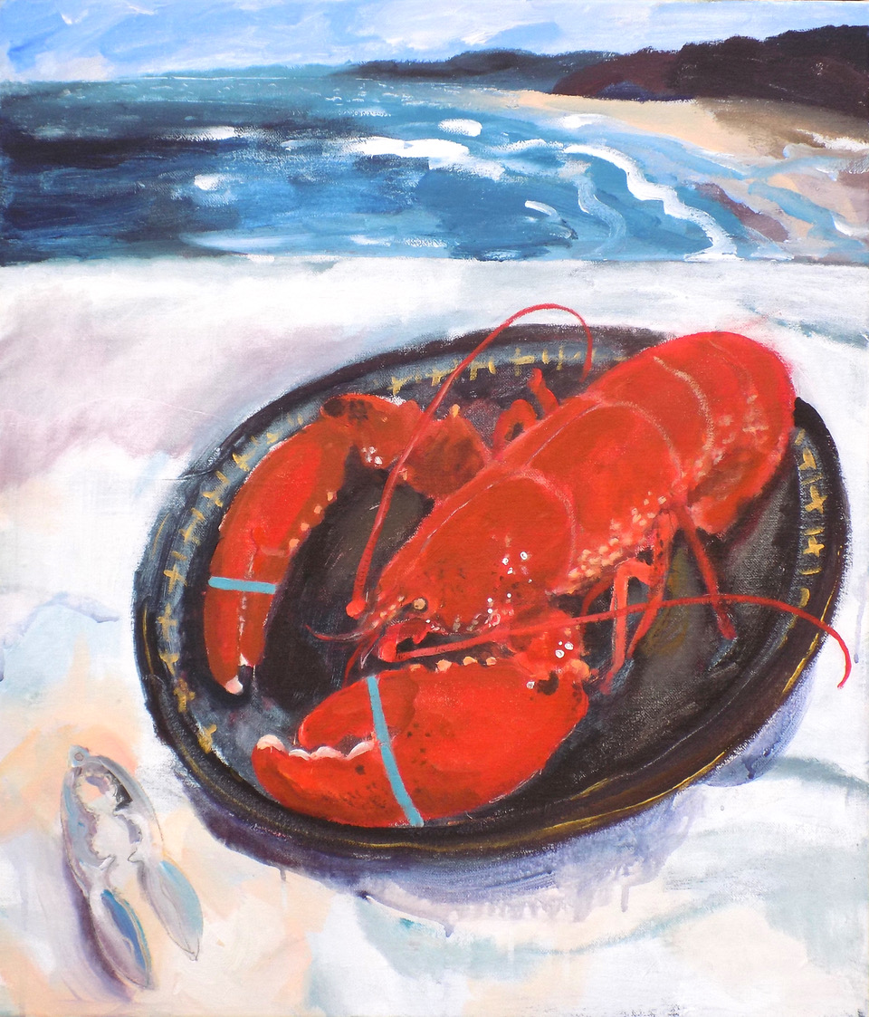 Seaside Lobster mixed media on canvas 70 x 80 cm £2,400