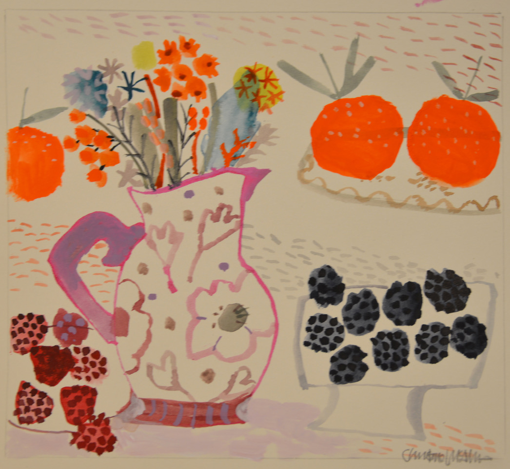 Pink Jug Berries Wild Flowers watercolour
